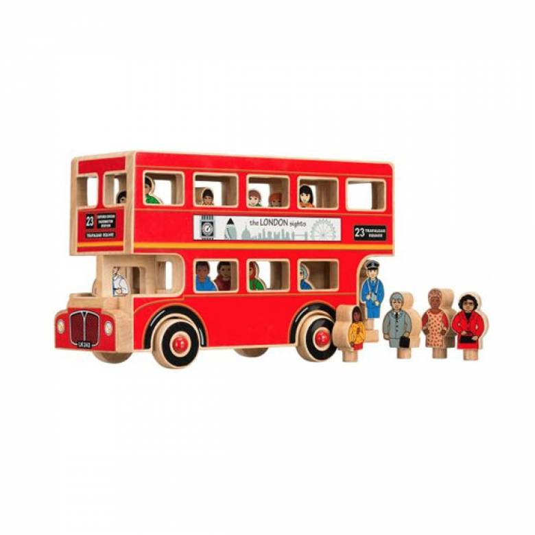 Red Painted Wooden London Bus Made From Natural Wood Lanka Kade