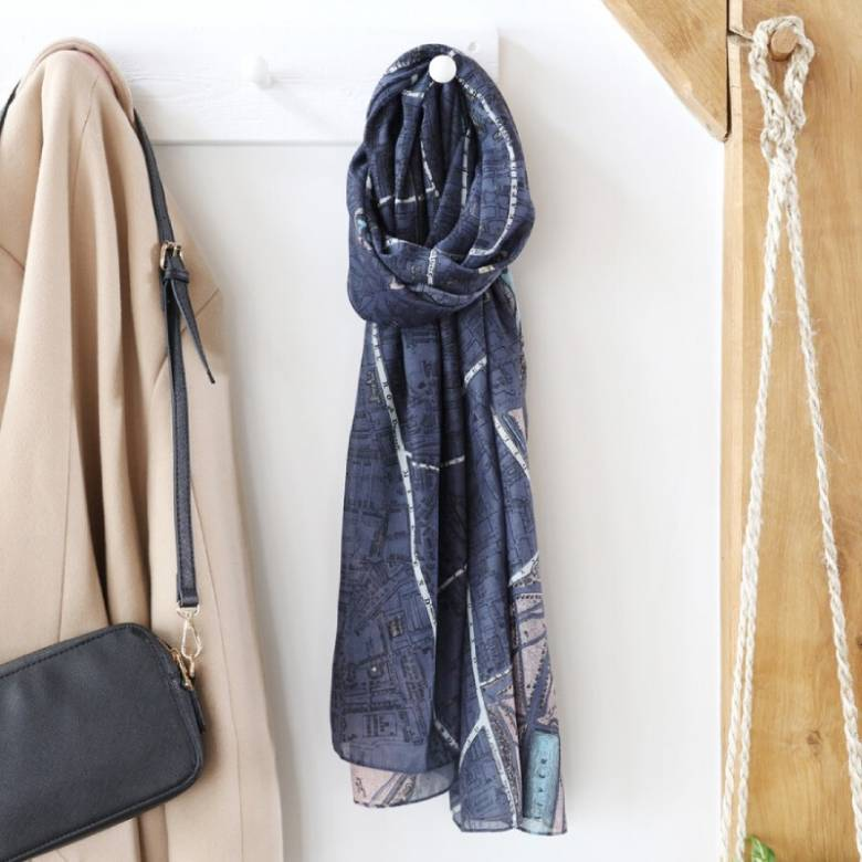 London Map Scarf In Navy