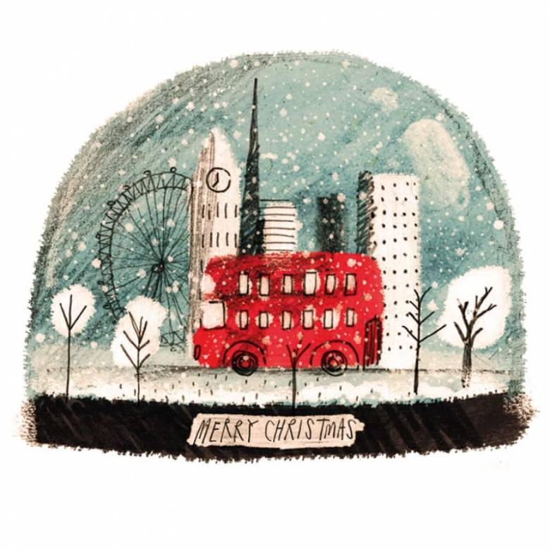 London Snow Globe - Pack Of 8 Christmas Cards By M&G