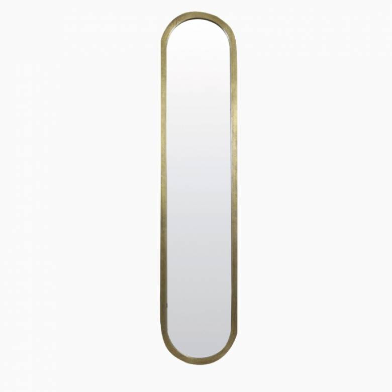 Large Long Curved Farah Mirror in Gold 38x175cm