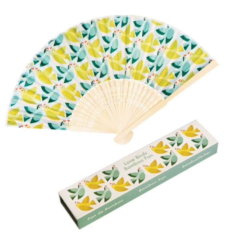 Love Birds Print Bamboo Fan In Gift Box