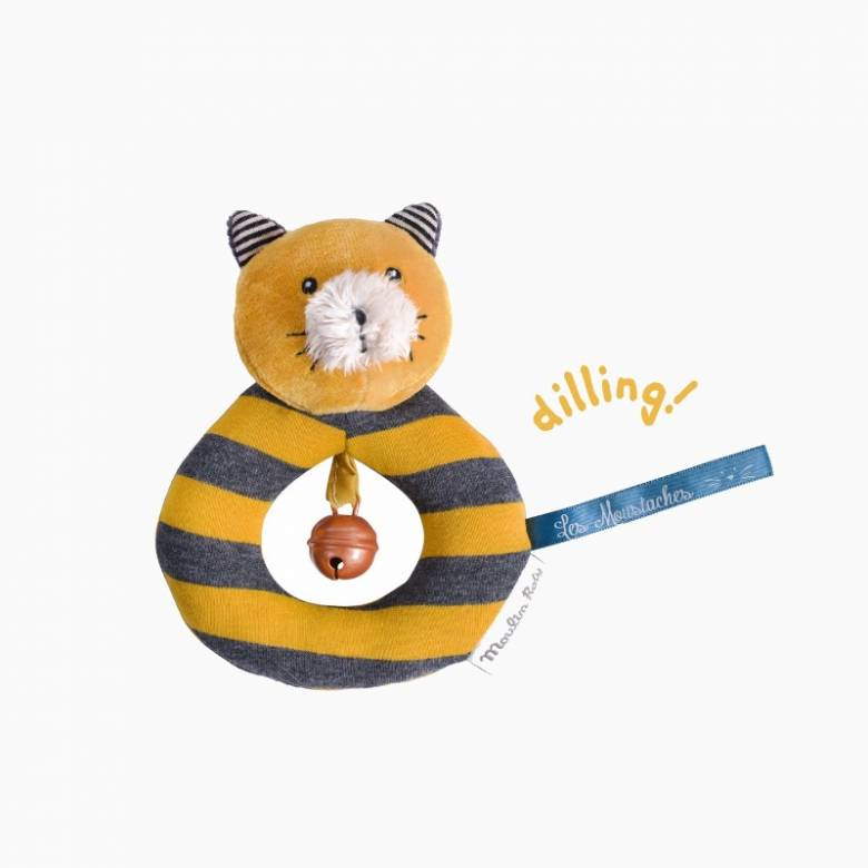 Lulu The Cat Yellow Ring Rattle Soft Toy Les Moustaches 0+