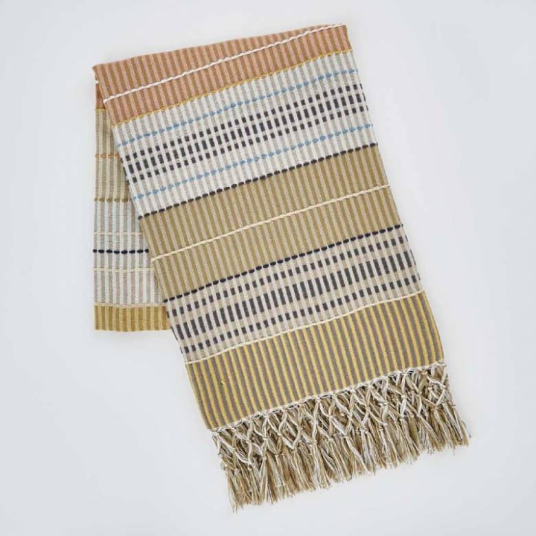 Madras Gold Check Throw Made From Recycled Bottles