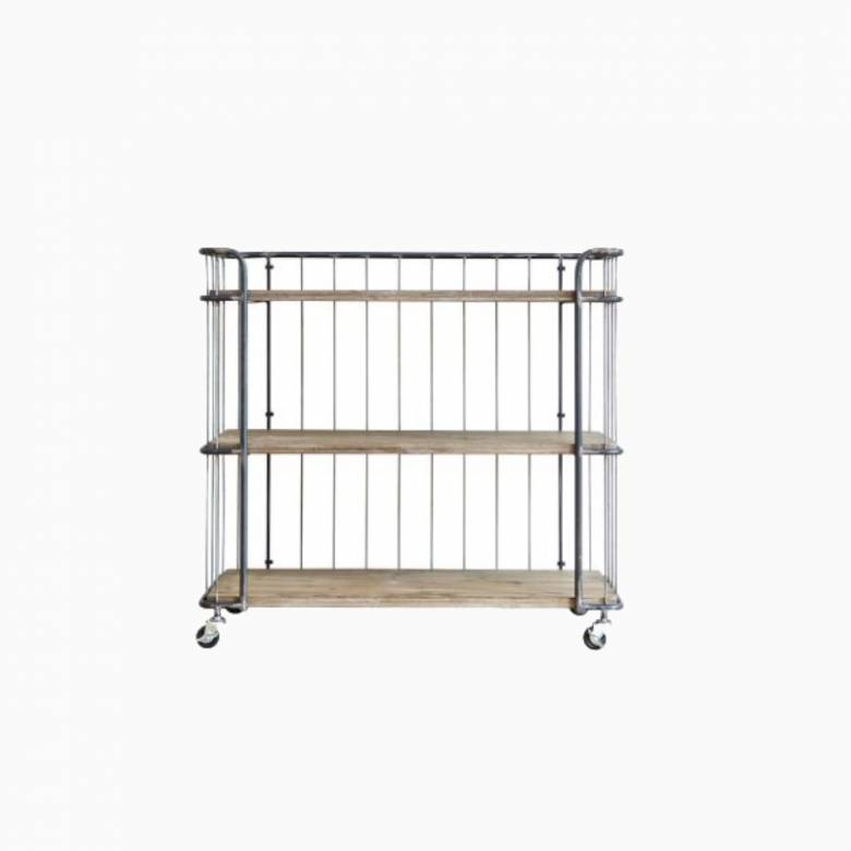 Medium Giro Trolley Wood Shelves Wire On Castors