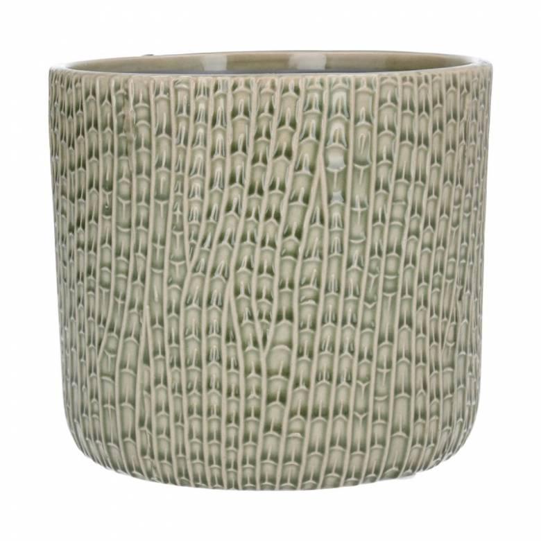 Medium Horsetail Reed Ceramic Flowerpot Cover In Green