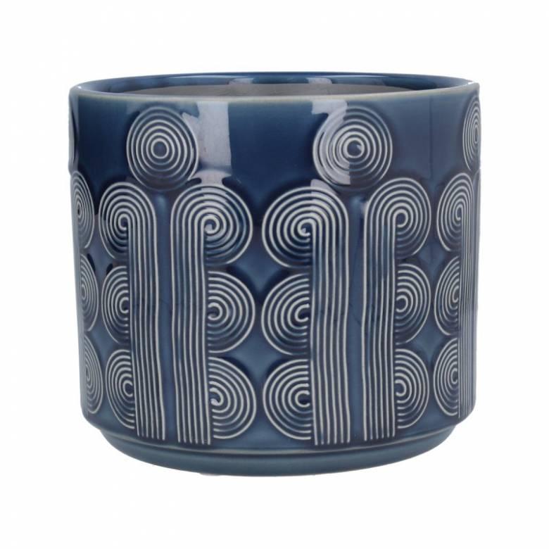 Medium Retro Circles Ceramic Flowerpot Cover In Navy Blue