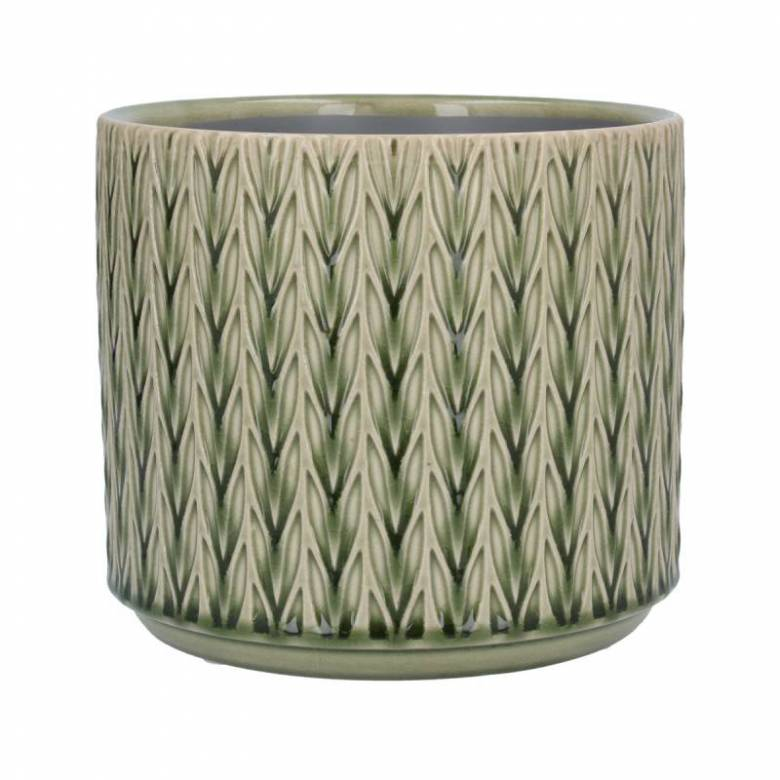 Medium Staghorn Ceramic Flowerpot Cover In Green