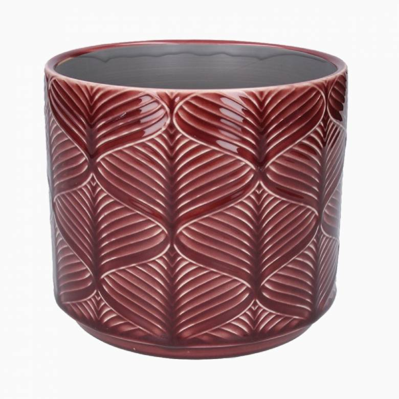 Medium Wavy Ceramic Flower Pot Cover In Berry