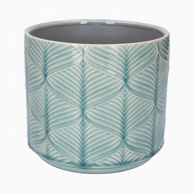 Medium Wavy Ceramic Flower Pot Cover In Light Blue