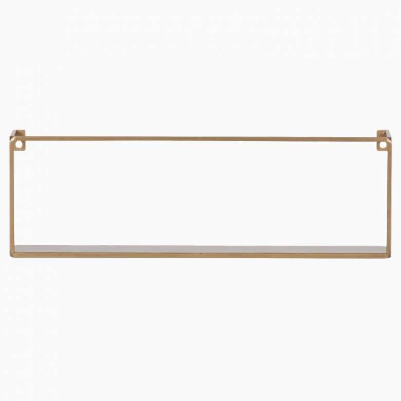 Meert Long Rectangular Metal Wall Shelf In Gold 50cm