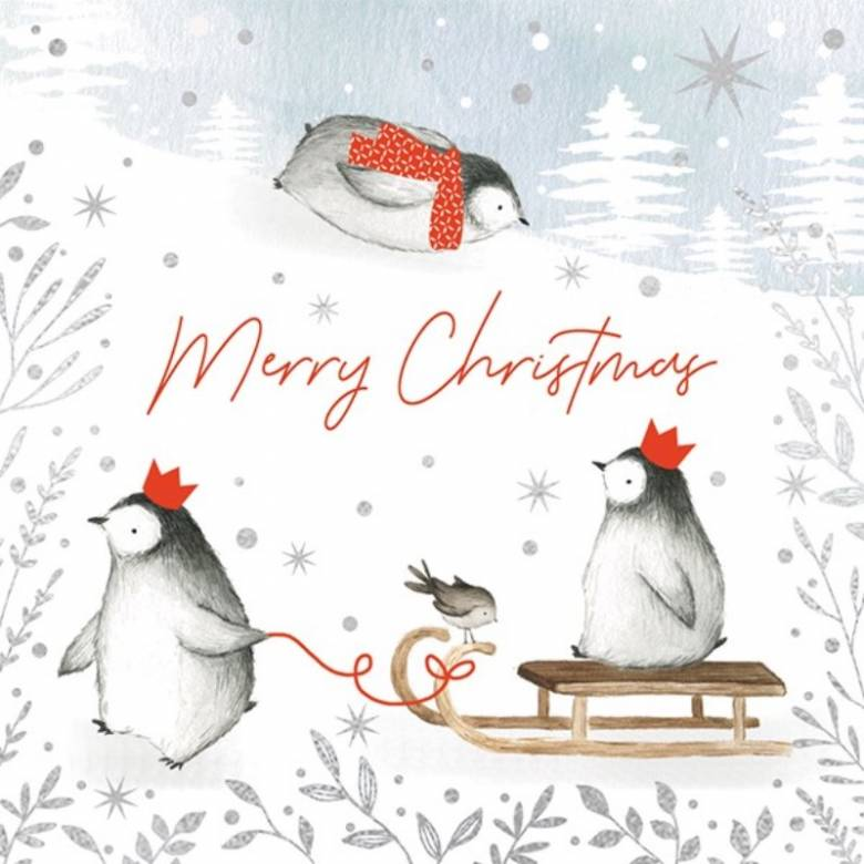 Merry Christmas Penguins - Pack Of 6 Christmas Cards By Art File