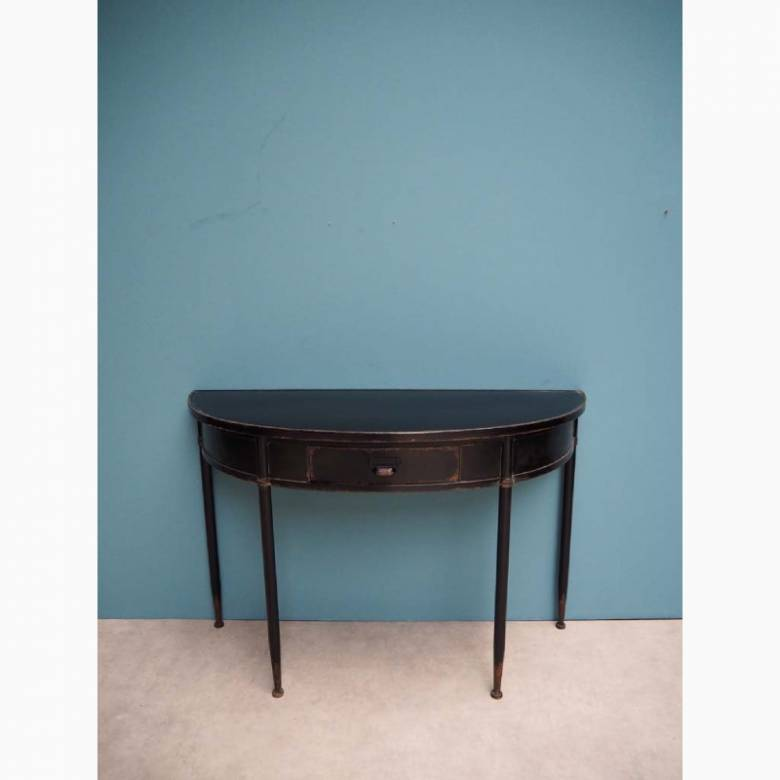 Metal Half Moon Console Table