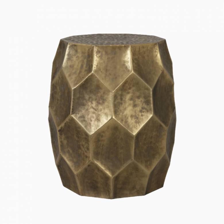 Metal Kalan Honeycomb Gold Side Table H:42.5cm