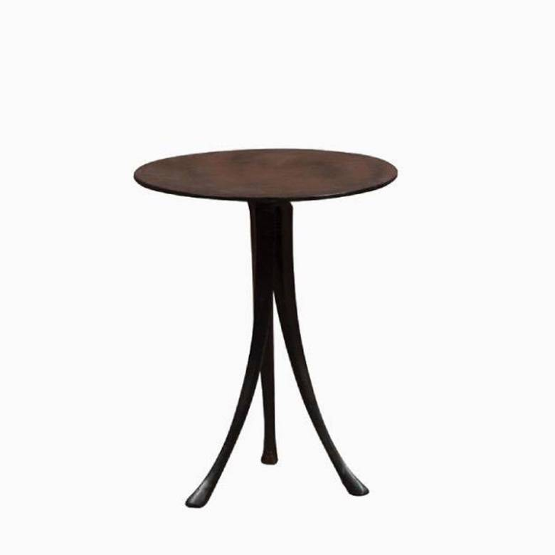 Circular Metal Side Table With Flared Tripod Legs