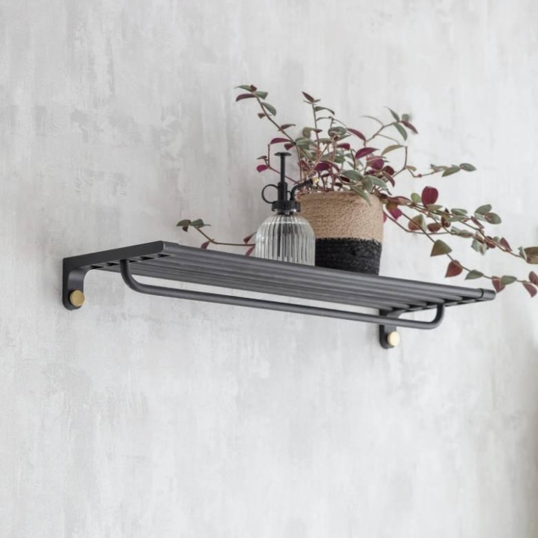 Adelphi Metal Slatted Wall Mounting Shelf With Rail In Black
