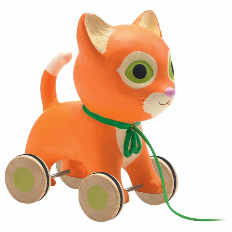 Mila Pull Along Cat Toy By Djeco 18m+