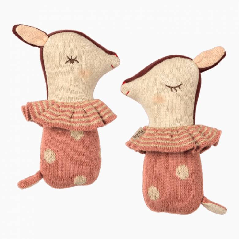 Mini Bambi Rattle In Rose Pink By Maileg 0+