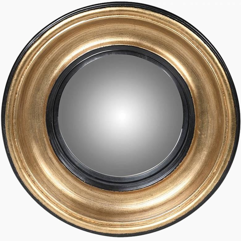 Mini Convex Mirror In Gold & Black Frame