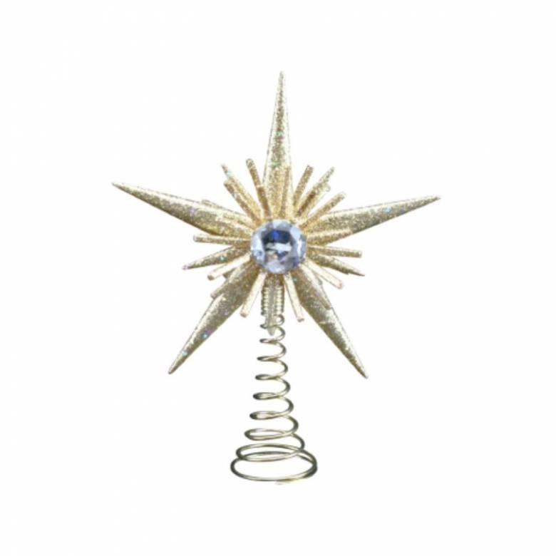 Mini Gold Glitter Jewelled Star Christmas Tree Topper