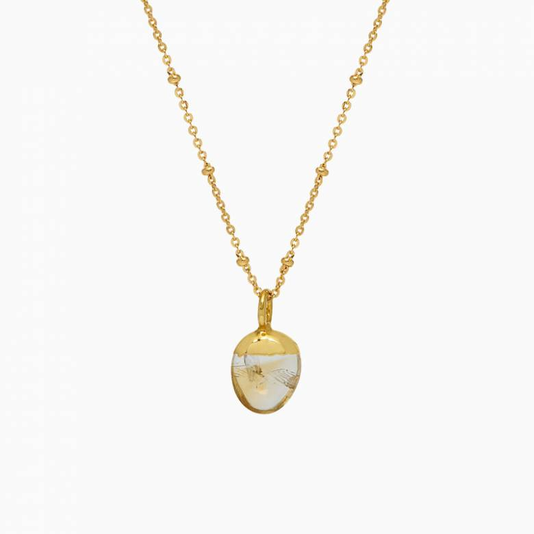 Mini Pebble Citrine Pendant On Gold Chain