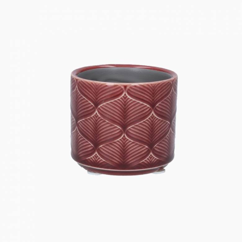Mini Wavy Ceramic Flower Pot Cover In Berry