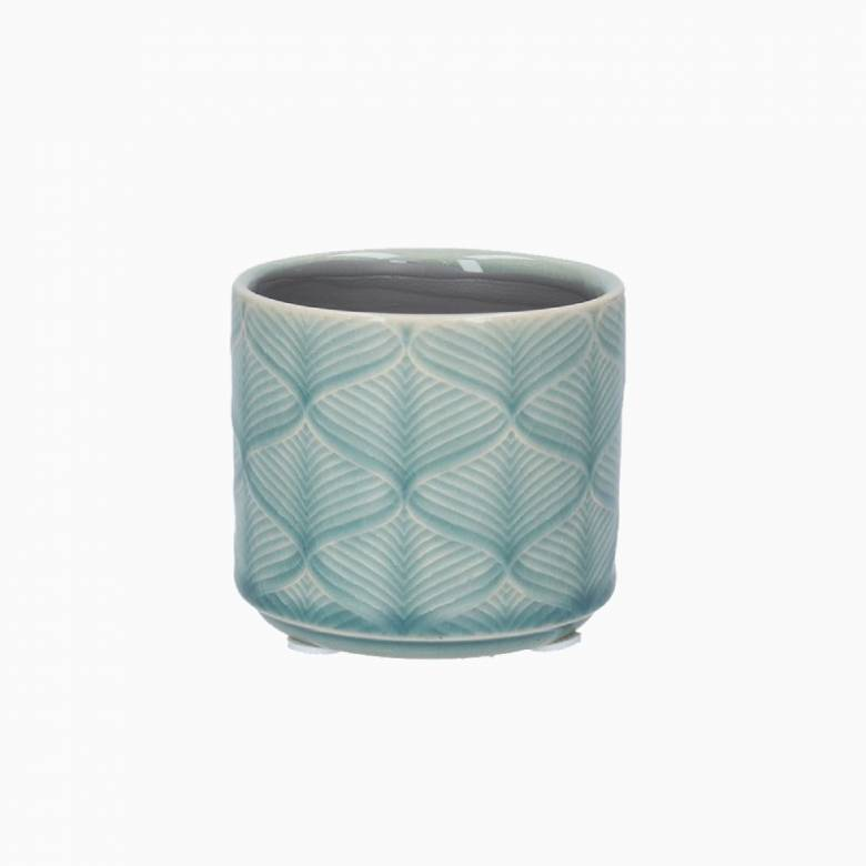 Mini Wavy Ceramic Flower Pot Cover In Light Blue