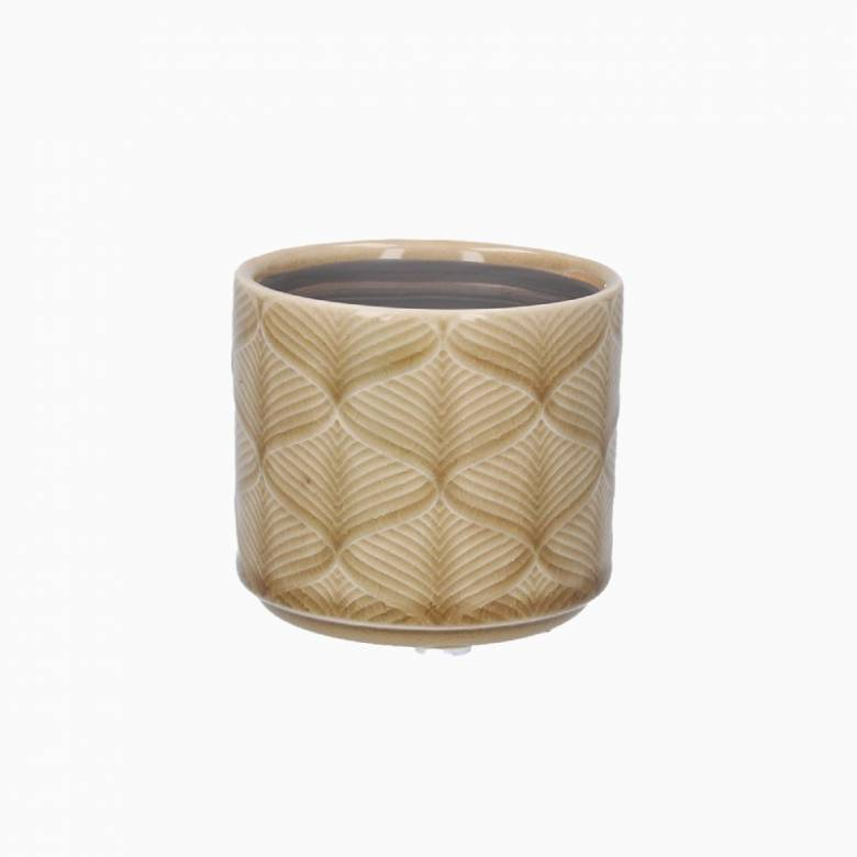 Mini Wavy Ceramic Flower Pot Cover In Mustard
