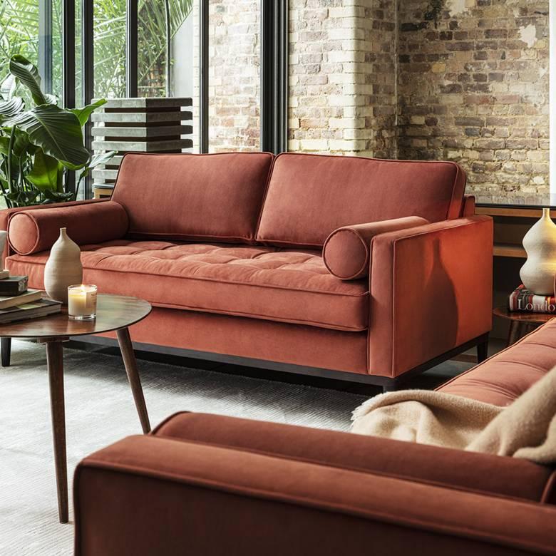 Model 02 Velvet 2 Seater Sofa - Brick