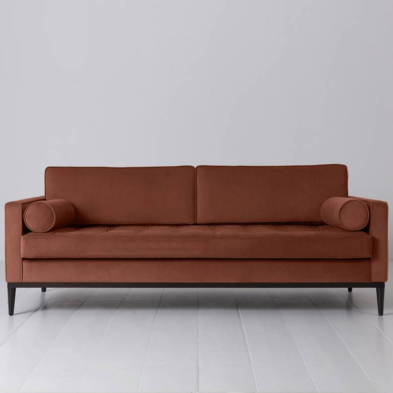 Swyft - Model 02 Velvet 3 Seater Sofa - Brick