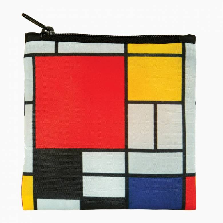 Mondrian Composition - Reusable Tote Bag With Pouch