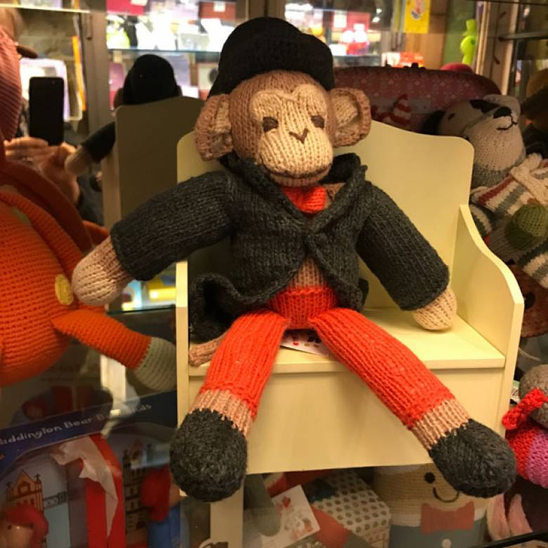 Monkey With Top Hat Knitted Soft Toy