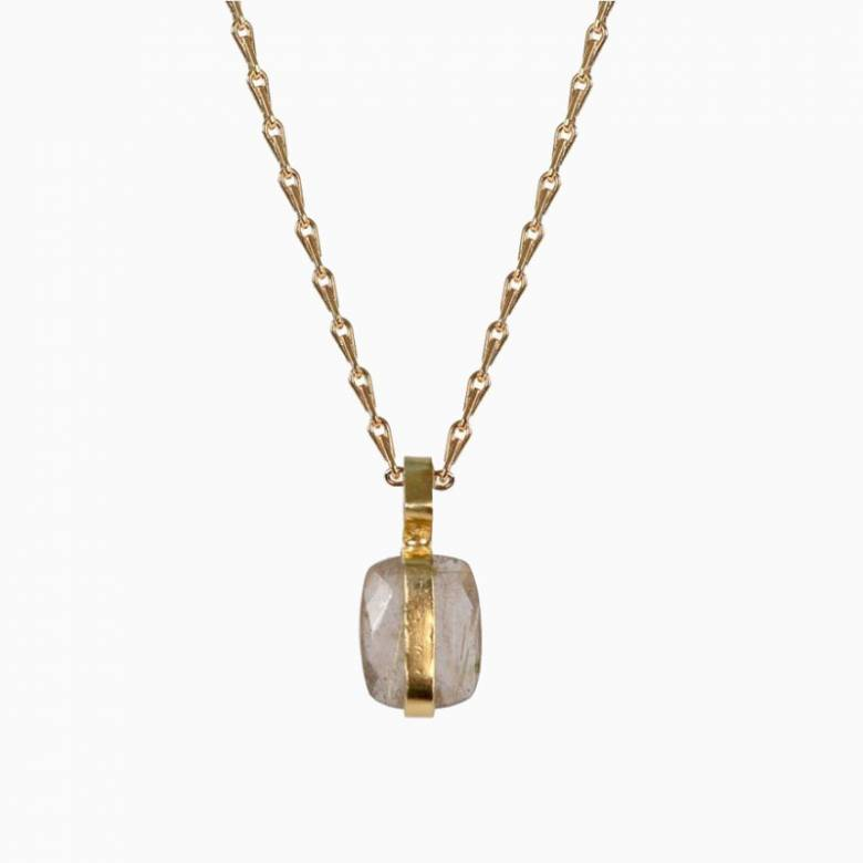 Moonstone Vertical Setting Pendant With Gold Chain