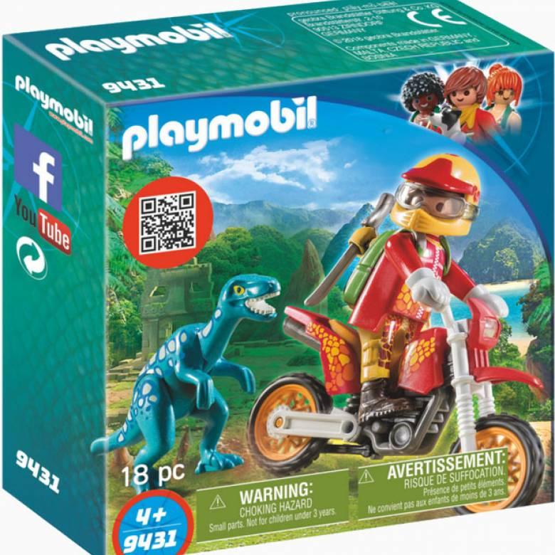 Motorcross Bike With Raptor Playmobil Dinosaurs 9431