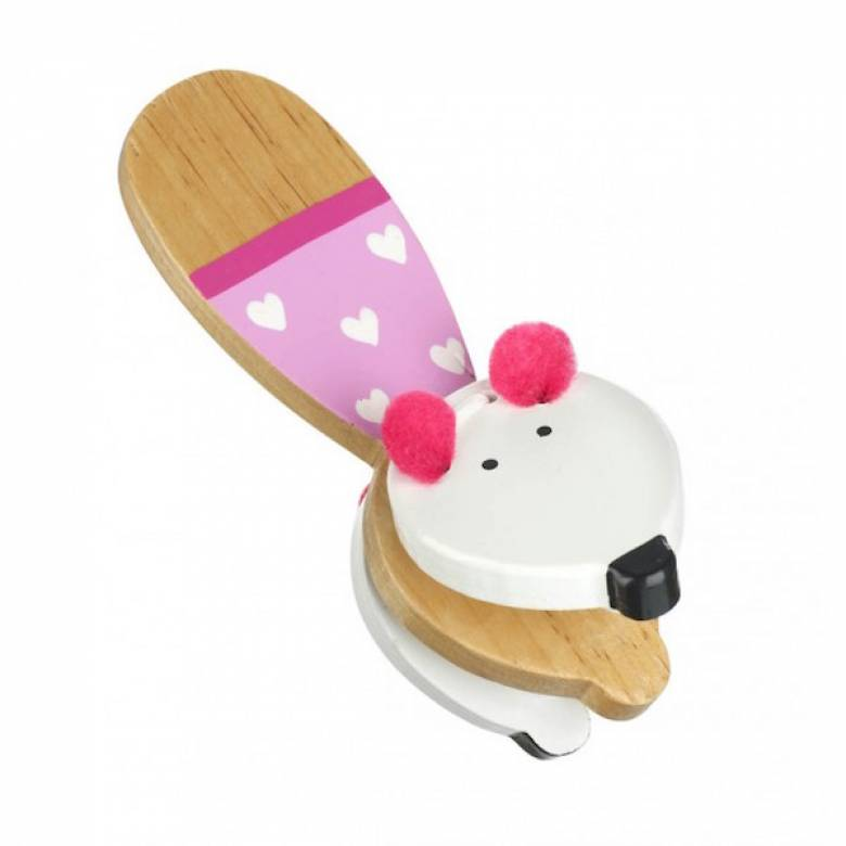 Pink Mouse Wooden Clacker Musical Toy 3+