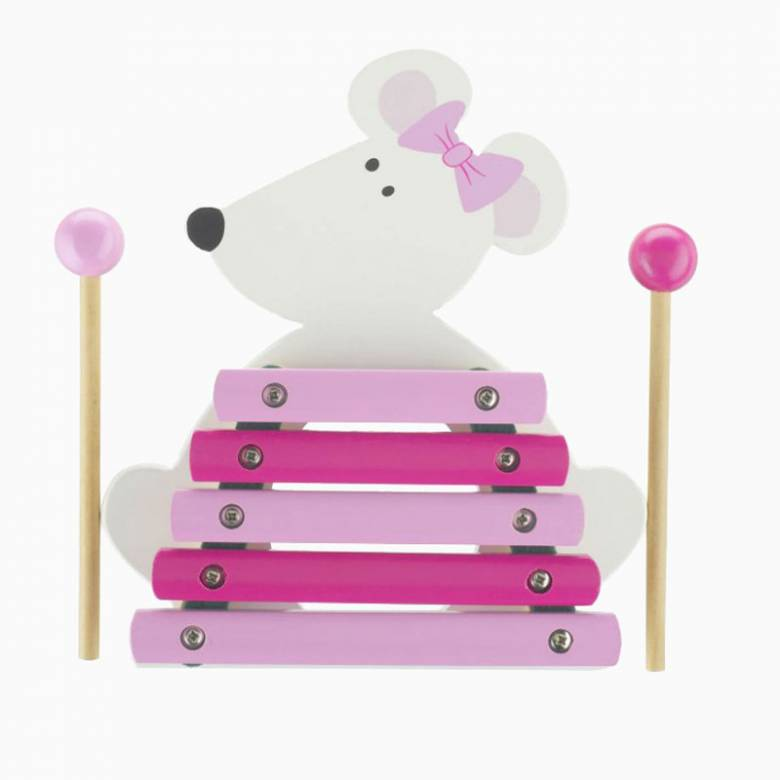 Pink And White Mouse Wooden Xylophone Musical Toy 1+