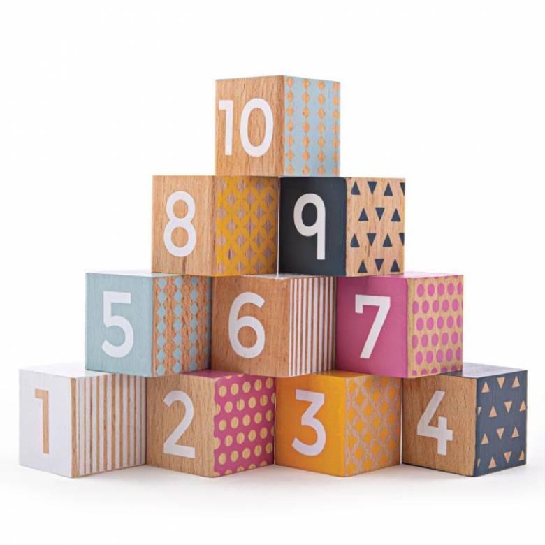 Wooden Number Blocks Multi Coloured FSC Certified 6m+