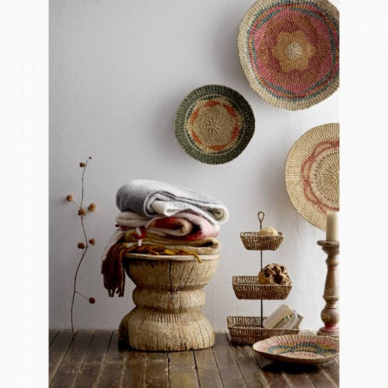 Multi-Coloured Jute Wall Basket/ Bowl With Green Trim