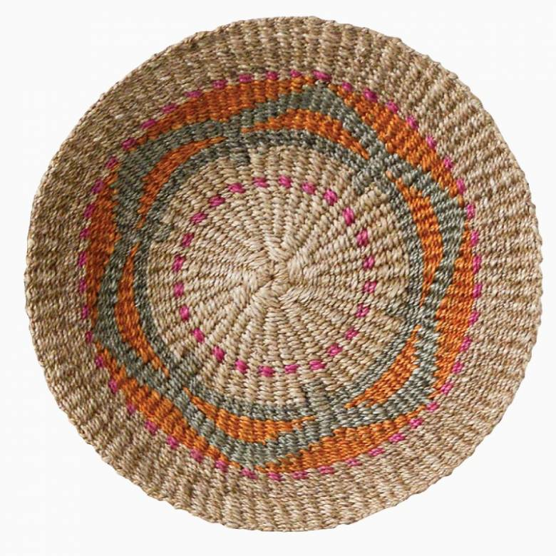 Multi-Coloured Jute Wall Basket/ Bowl With Natural Trim