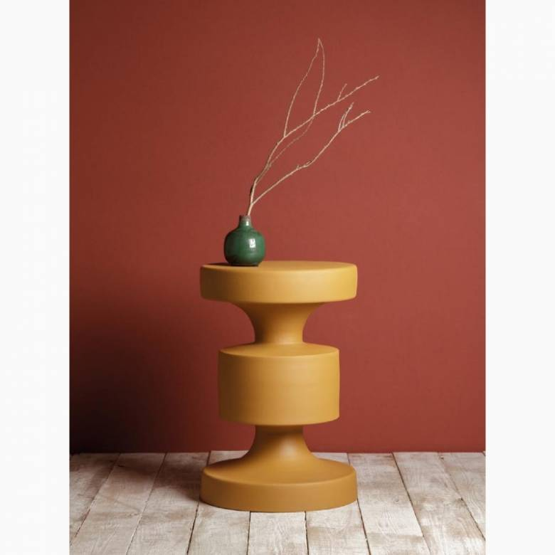 Mustard Yellow Metal Barbell Side Table H: 46cm
