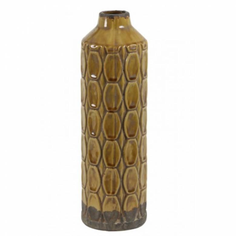 Mustard Brown Textured Tall Ceramic Decorative Vase