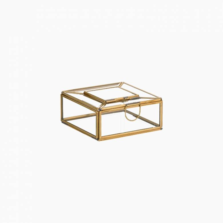 Nalou Glass Trinket Box With Brass Frame