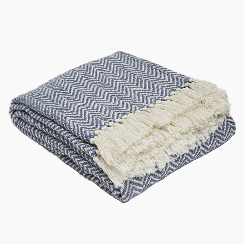 Navy Herringbone Blanket From Recycled Bottles