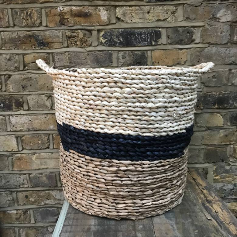 Navy, White & Brown Stripe Straw Basket With Handles
