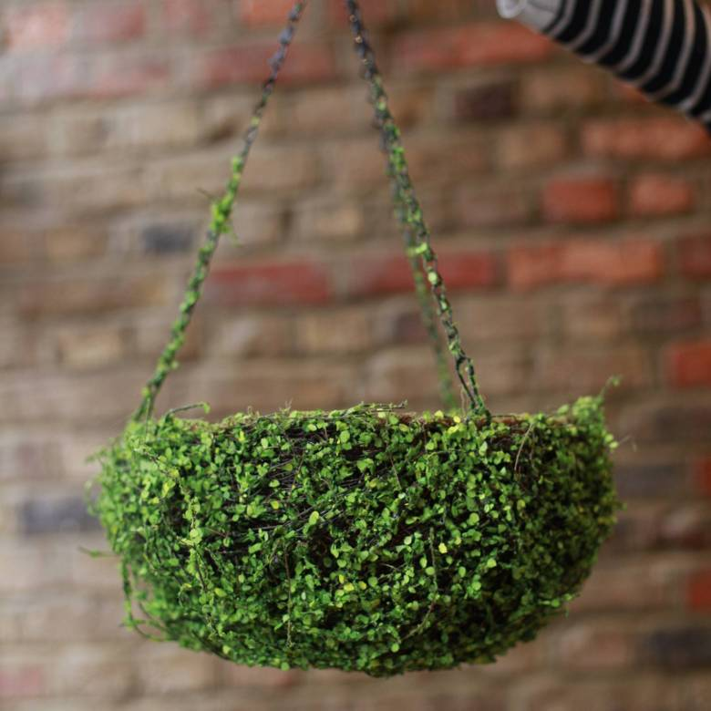 Small Hanging Basket With Faux Plant Outer