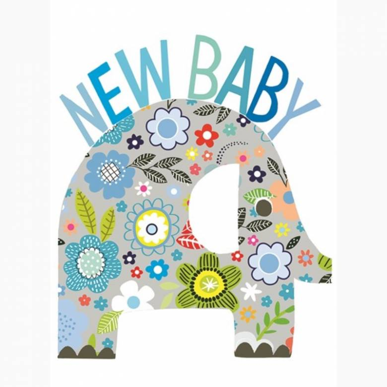 New Baby Blue Elephant - Large Greetings Card