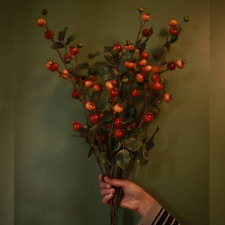 Faux Rose-Hip Plant Single Spray