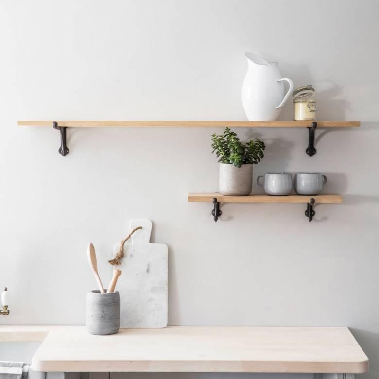 Small Oak Shelf With Cast Iron Brackets 15x55x3cm