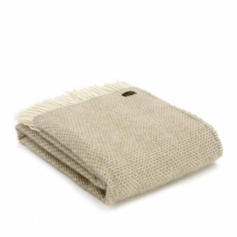 Oatmeal Beehive Wool Blanket Throw 150cm x 183cm
