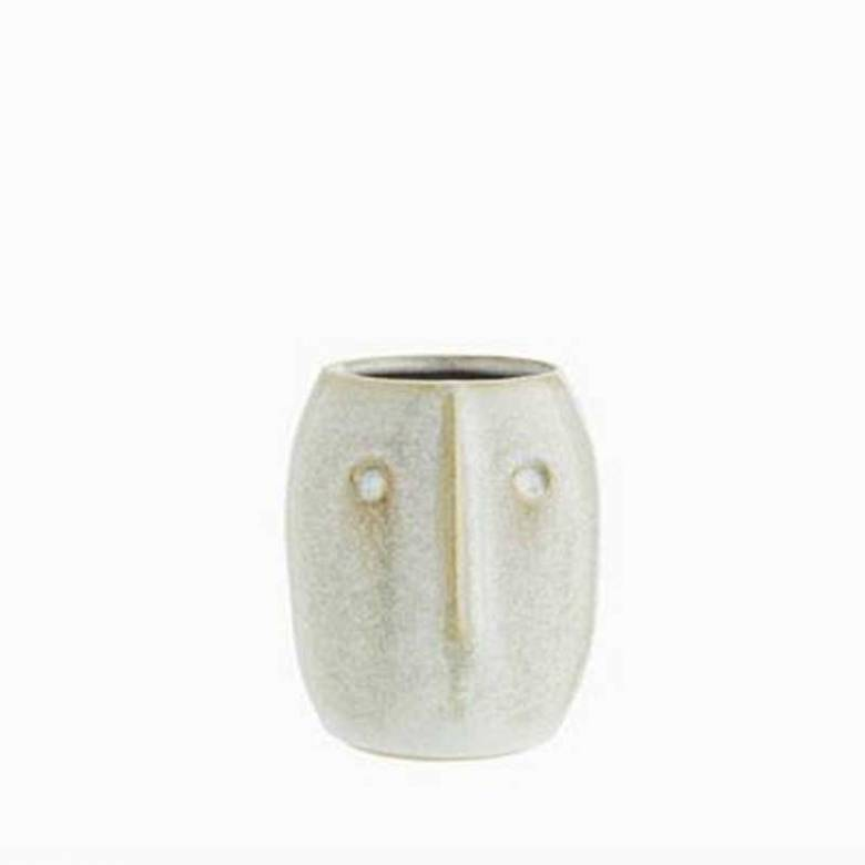 Off White Stoneware Curved Face Vase 10cm