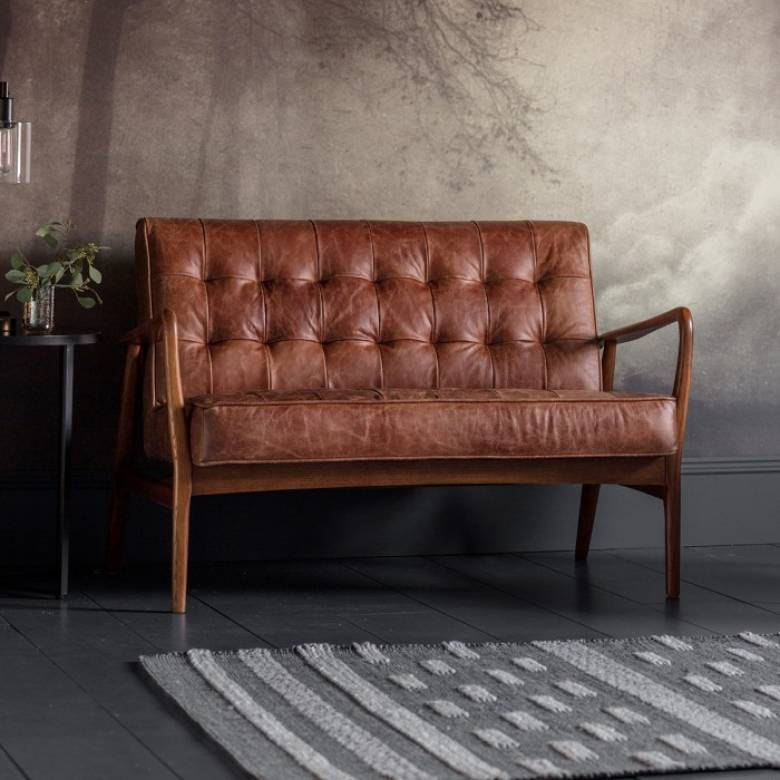 The Olsen - 2 Seater Settee in Distressed Brown Leather
